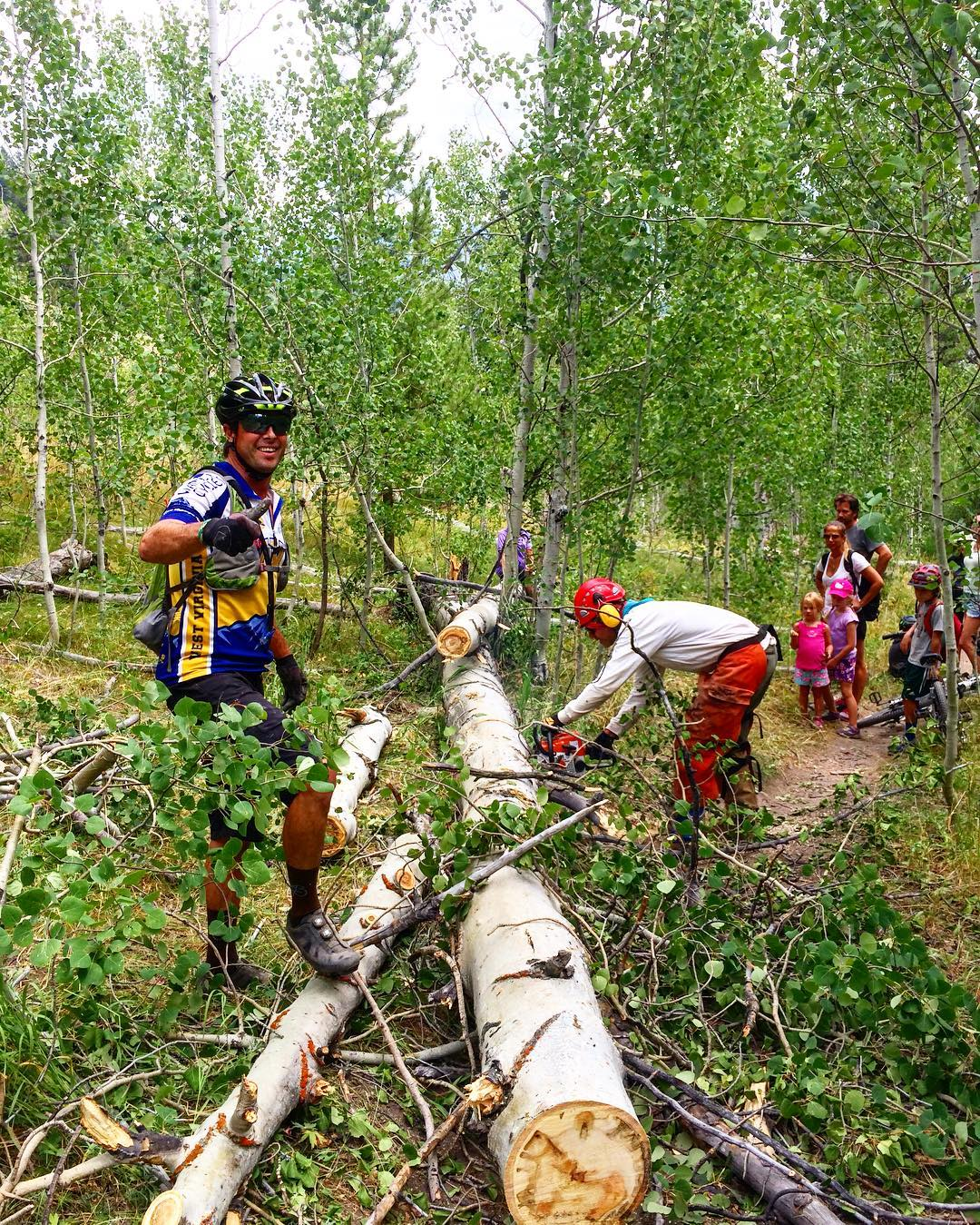 Last Friday ride in Ketchum before heading out to California for the week.  Thought we'd help remove a fallen tree.  #doyourpart thanks BCRD!