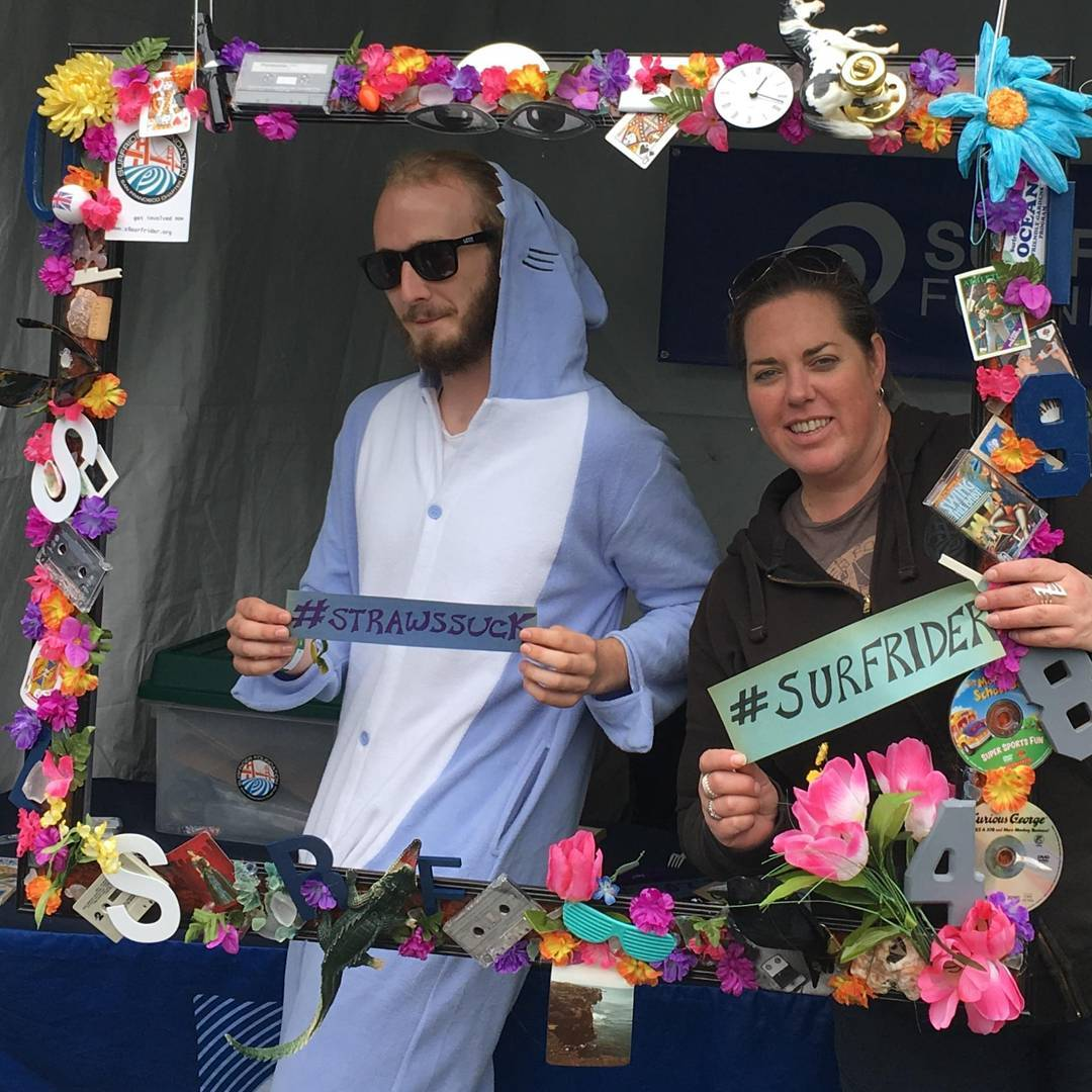 Hey @outsidelands come check out the @sfsurfrider booth in #ecolands - Take a selfie and try your hand at a #1minutewave! #protectandenjoy #surfriderfoundation #osl16 #plasticstrawssuck