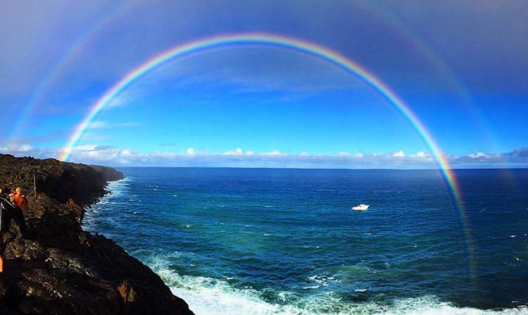 Here is the double rainbow that appeared over our boat when we arrived at the volcano. It washed away any lingering droplets of fear. My parents took this photo as they were my support team from above. Every shaman I have ever met has told me to look...