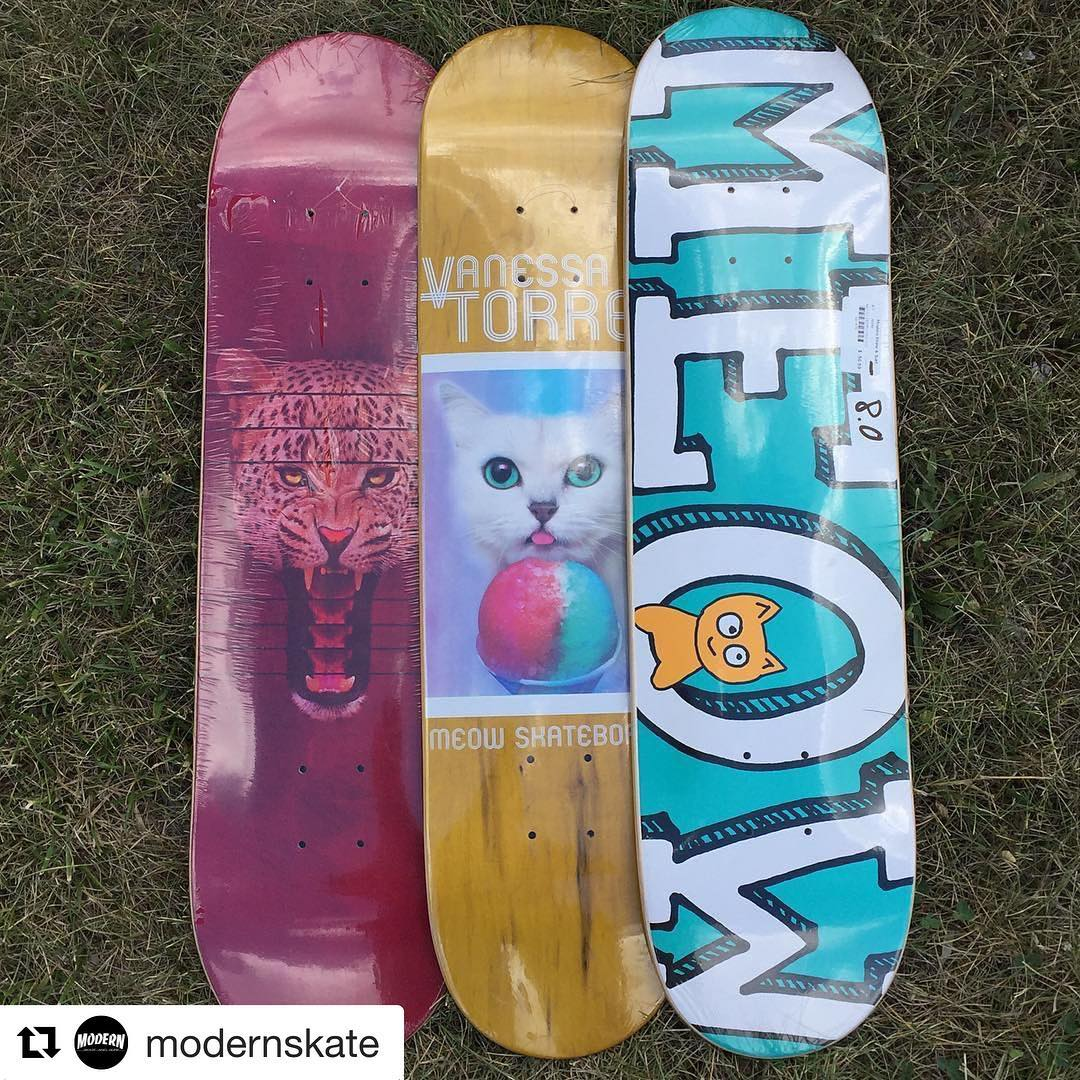 Don't forget to join us tomorrow @modernskate ••• We got some @meowskateboards in just in time for tomorrow's @michigangrocrew session. Remember ladies it's only $8 to ride the park from 2-5 pm. #ladiesofshred #apositiveseedco #youcanshredwithus...