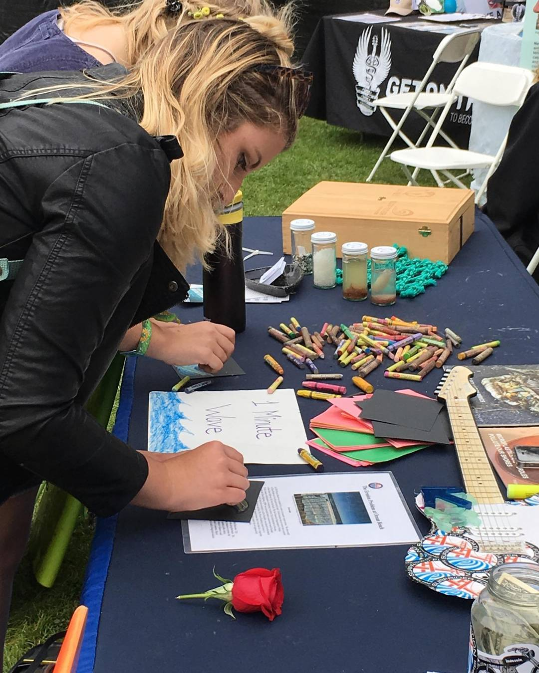 #osl16 Day 2! Come draw a #1minutewave and hit up the selfie station! Inspired by @abelarts and @stwcoalition! #outsidelands #protectandenjoy #surfriderfoundation #surfridersf