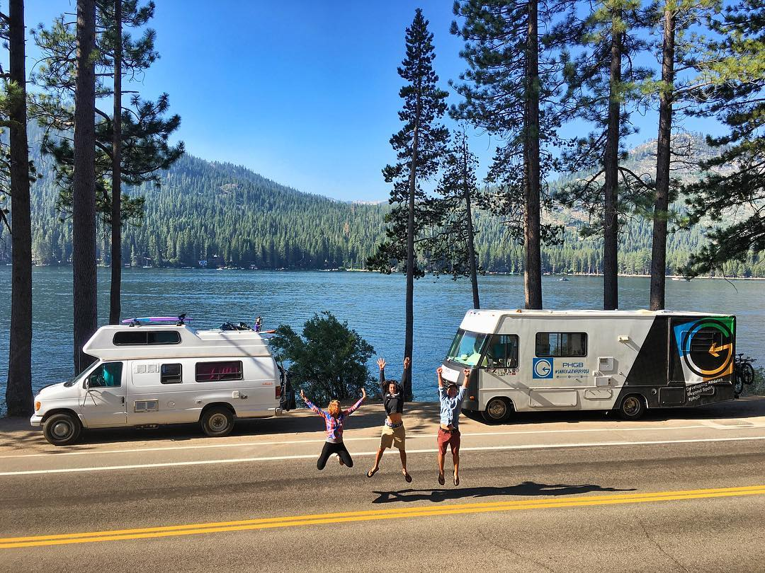 After a long day of driving, we arrived at Donner Lake just in time for a serendipitous meet up with PHGB ambassador @naylanator and her motorhome, Carlos!