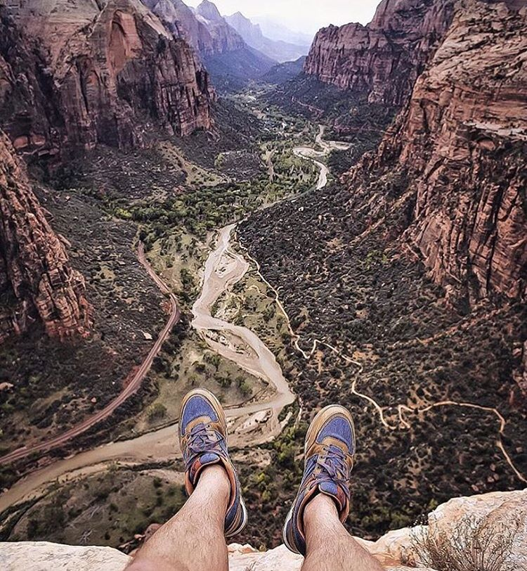 Awesome view down the canyon from Angel's Landing in @zionnps with