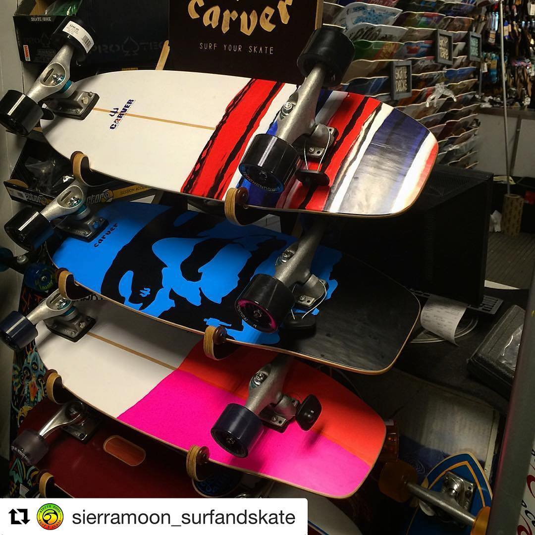 #Repost @sierramoon_surfandskate with @repostapp ・・・ Surf conditions not up to your liking? Pick up a #carver skateboard and shred year round on land. Patented C7 trucks available to make any skate deck surfable.  #surfshop #skateshop #eastcoast...