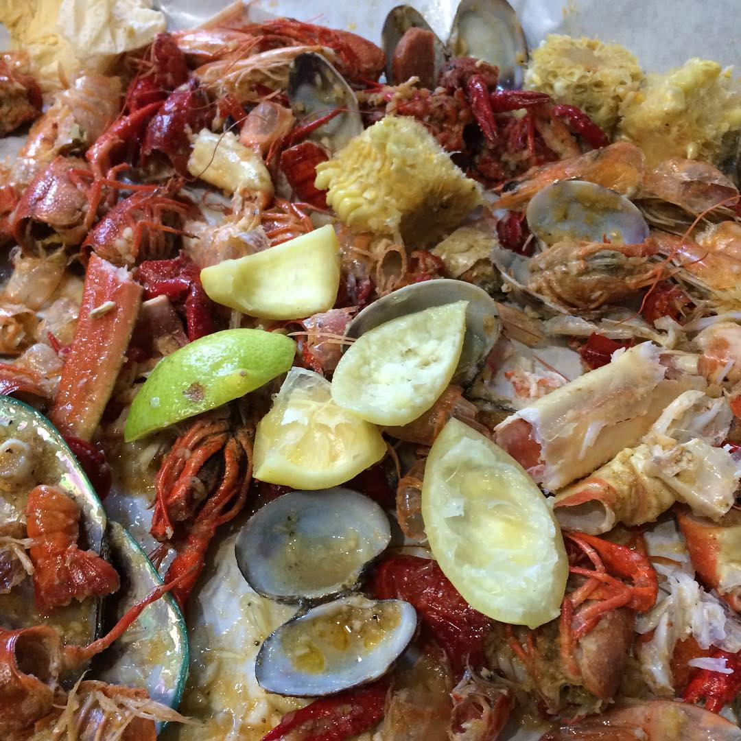 #birthday celebration at the #skateshop is how we do #crab #crawfish #shrimp #corn #taters #lunch #skate #eat #instagram #foodporn