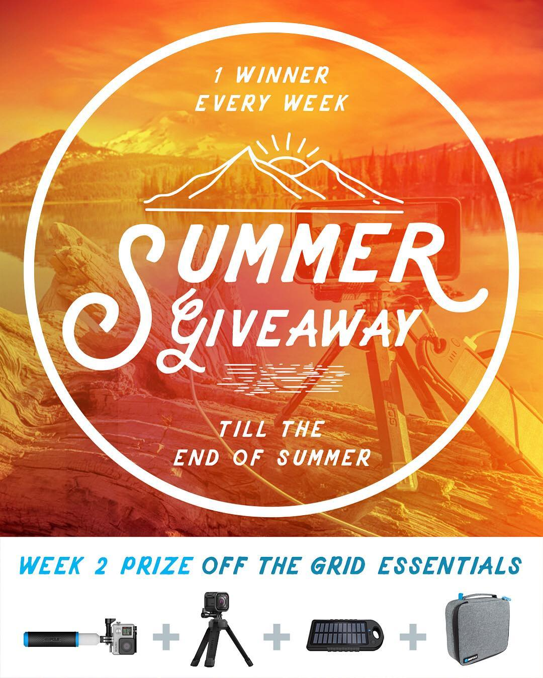 Congrats to week 1 winner, Kaylin Bruce! GoPole Summer Giveaway week 2 prize - Off the Grid Essentials. Enter daily to increase your chances. No purchase necessary, enter once or enter every day to increase your changes of winning. Enter now by...