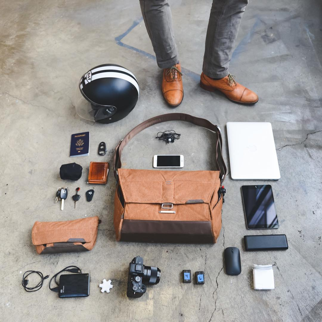 The bag, pouch, gear, and feet of founder/dress-shoe-expert @peterdering. #findyourpeak