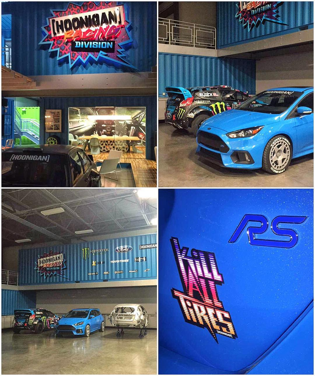 A few shots from the Hoonigan Racing headquarters from last night. Off again today on another adventure.  More photos/ info on my Focus RS later today. #happyplace #FordFocusRS #ToyoTires #HRD_HQ