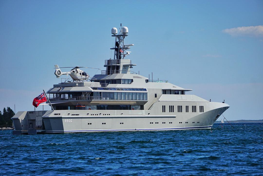 "There's dinghys...boats...then yachts...then there is ""Skat"" a Navy inspired 233' ft super yacht with it's very own helicopter! #yachtlife #skat #boothbayharbor #lurssenyachts #dreambig #boats"