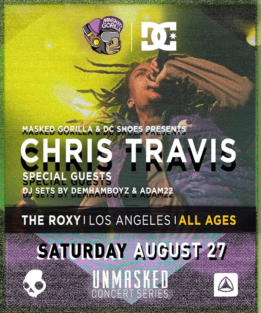 The DC x @MaskedGorilla @UNMASKEDla concert series on continues this month with @KenshinTravis on Saturday, August 27th at The Roxy in Los Angeles, CA. You're not going to want to miss this one! You can buy tickets now at: UNMASKED.la. #DCShoes