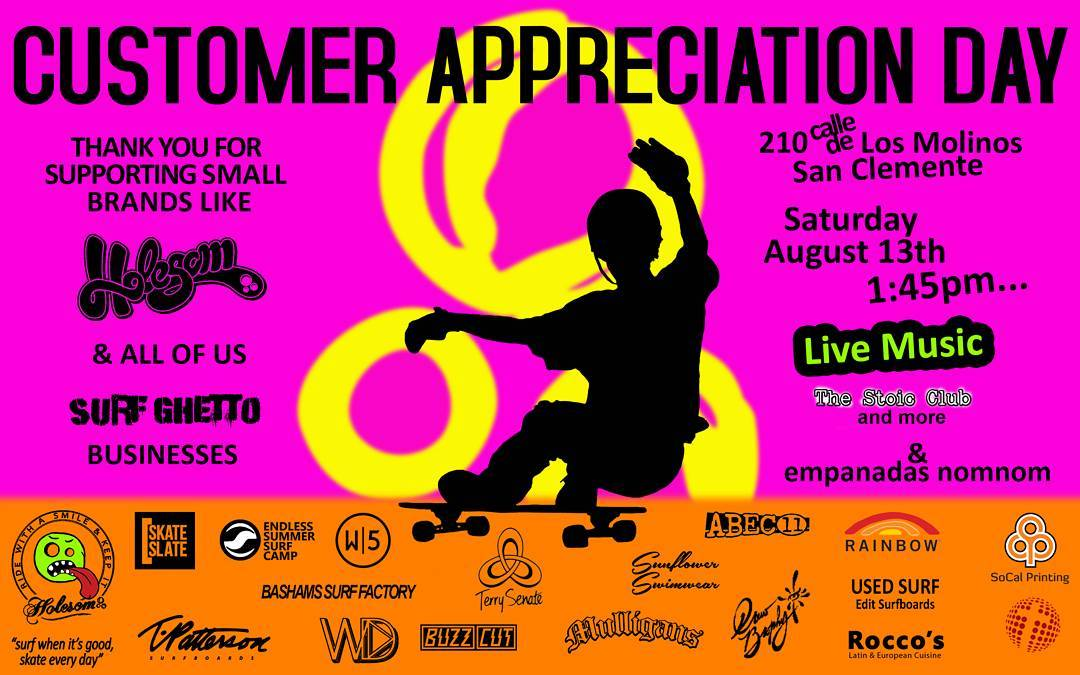 Customer Appreciation Day this Saturday for everyone who uses our parking lot to shop at and support neighboring businesses and for those who keep it Holesom