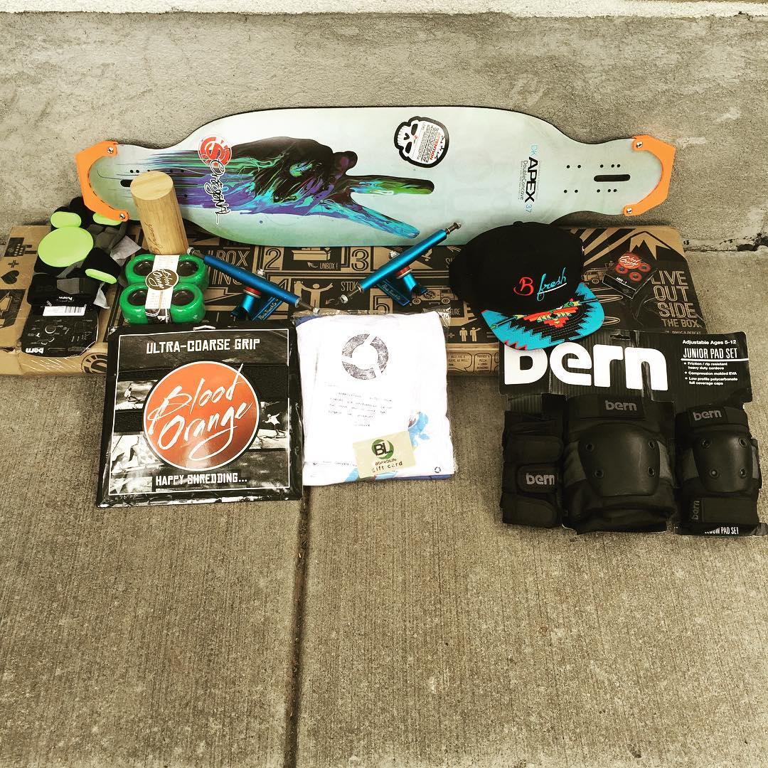 Congrats Jillian!  This insanely awesome prize package is shipping out your way today.  Thank you to everyone who entered our ultimate longboard giveaway! Also, thanks to our package contributors @bfreshgear @paristruckco @skatebloodorange...