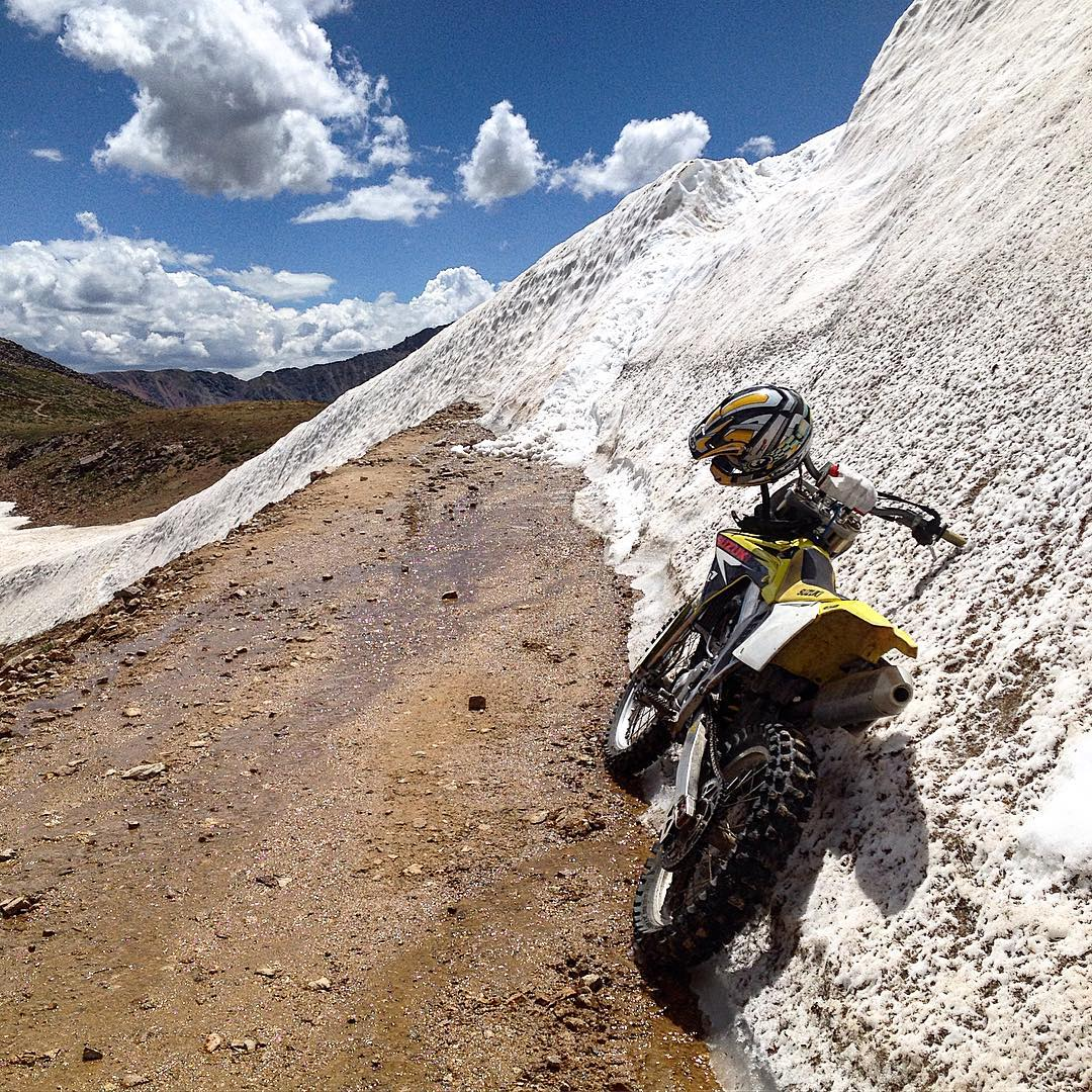 Early August and the top of #jonespass is still blocked by snow! Let's hope for another stellar snow year! #mx #doyoursnowdance #brapp