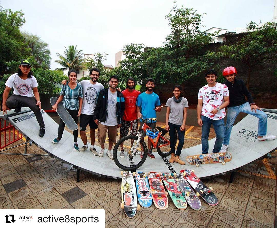 #Repost @active8sports with @repostapp A whole new vibe last Sunday! Join us every Sunday at Banner, Pune!  #skatemeet #skateboardinginpune #mtb #freshpark #active8sports #skateramps #halfpipe #skate