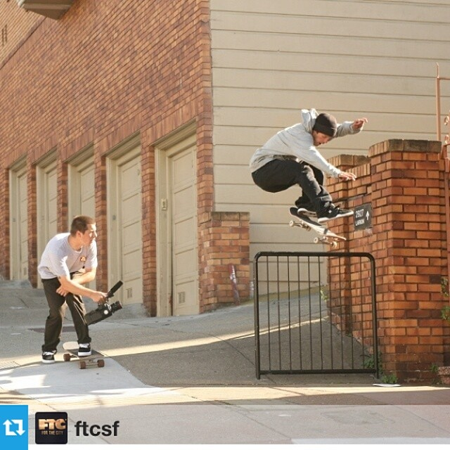 SF skate spot at the bottom of our driveway - we've seen some sessions go down here but have never seen the footage #regram from @ftcsf of @mattmillerskate @timcisilino doin' work #skateboarding #sanfrancisco #skateeverydamnday #bayarea #skatesession