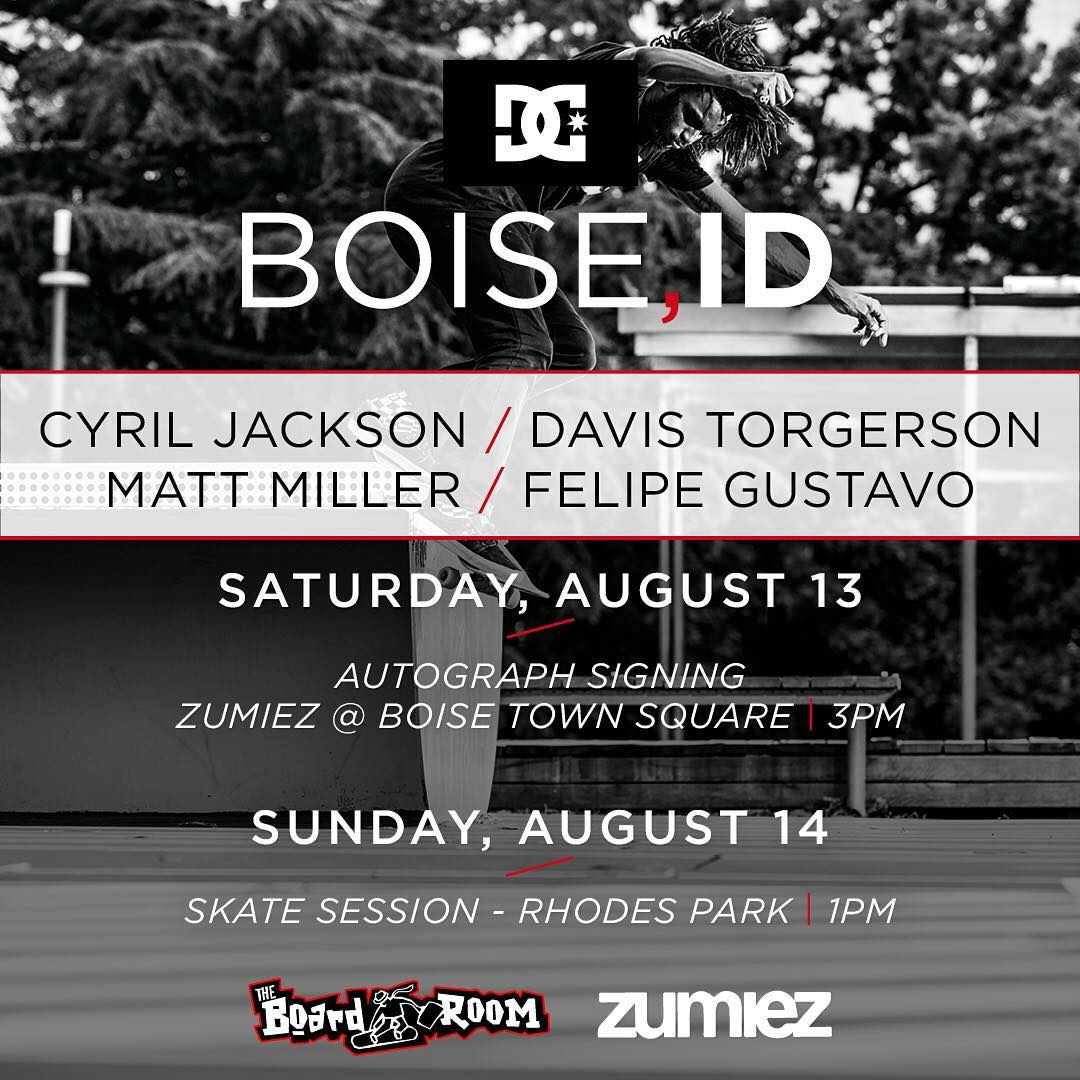 See you this weekend, Boise! @cyril_killa, @davistorgerson, @mattmillerskate, and @fgustavoo will be signing autographs at @zumiez Saturday at 3pm, and skating Rhodes Park with @boardroom_boise on Sunday at 1pm. Hope to see you there! #DCShoes