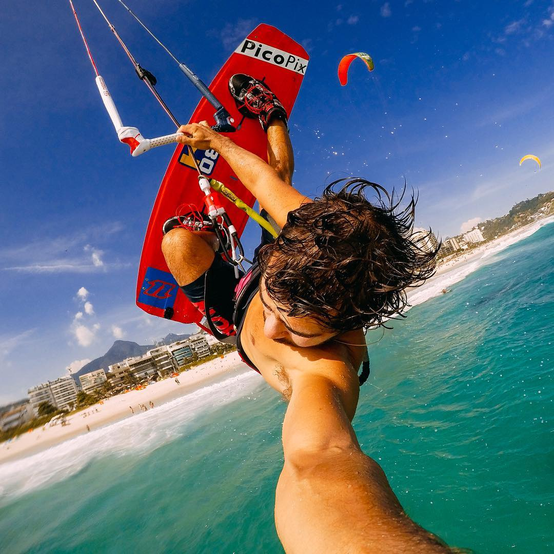 Photo of the Day! @renoromeu ripping it on the coastline of #riodejaneiro ! Get some! #GoPro #kiteboard #kiteboarding