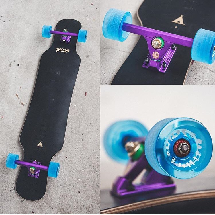 our #purplesatin #caliber50 trucks looking fly on an @sbdwlongboardshop set up.
