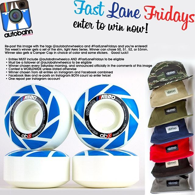 Re-post this image with the tags @autobahnwheelco and #FastLaneFridays and you're entered! This week's winner gets a set of the slim and light Aero Series. Winner can chose 50, 51, 52, or 53mm. Winner also gets a Camper Cap in choice of color and some...