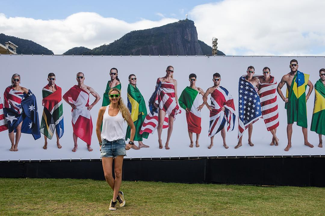 Awesome to have @kerrileewalsh stop by the #TeamOakley Safehouse in Rio.