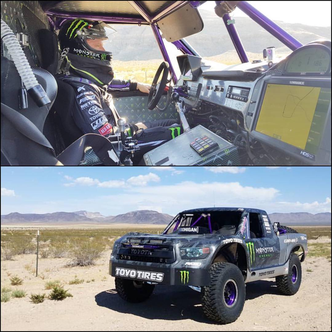 @bjbaldwin strapped into cockpit of his #trophytundra. Putting the rig through the paces in the desert. #testdaysarethebestdays