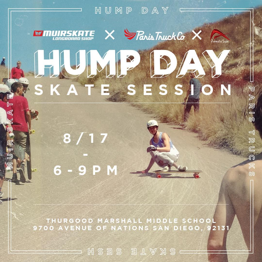 We are looking forward to a fun #humpdaysession with our friends @muirskate and @adrenalinaskate this Wednesday. Several skaters from the Paris team will be there giving tips and high fives! #paristrucks #humpday