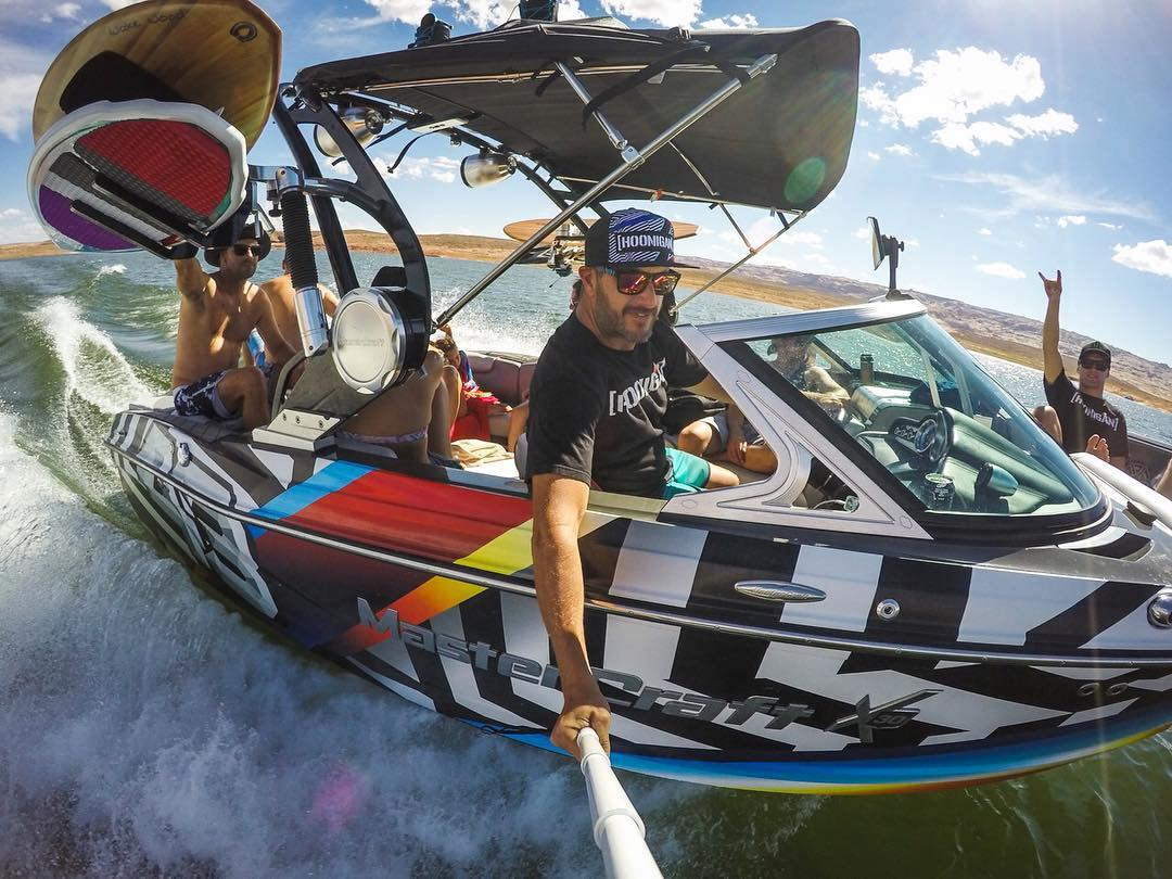 Recreational selfie from behind the wheel of our Mastercraft X30. Great times out here with great people! Also, this thing looks unbelievable on the water with this 2016 Hoonigan Racing livery (graphics by @FelipePantone). @GoPro #Hero4 photo....