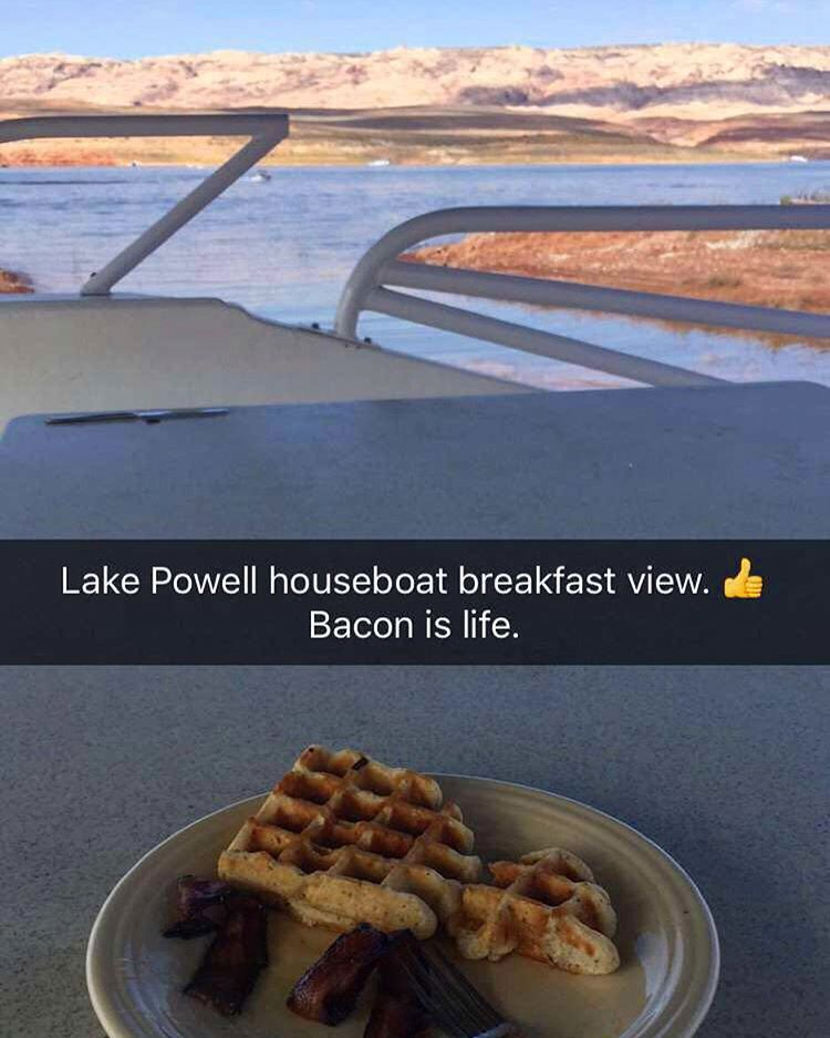 Post-morning filming session breakfast: gluten free waffles and this magical bacon my wifey makes - which is seasoned with brown sugar and cayenne pepper. So. Damn. Good. #magicalwifeyrecipes #LakePowell #ultimatesummervacationspot