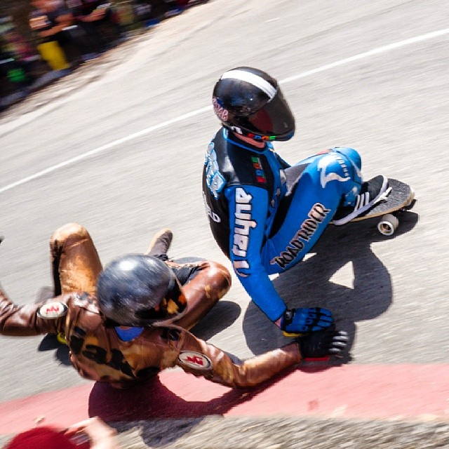 Kyle Wester avoids the carnage in the final turn at the Catalina Classic. @kylewesterskate #DH6 #cic2014 @catalinaislandclassic  Can anyone ID and tag the other rider?