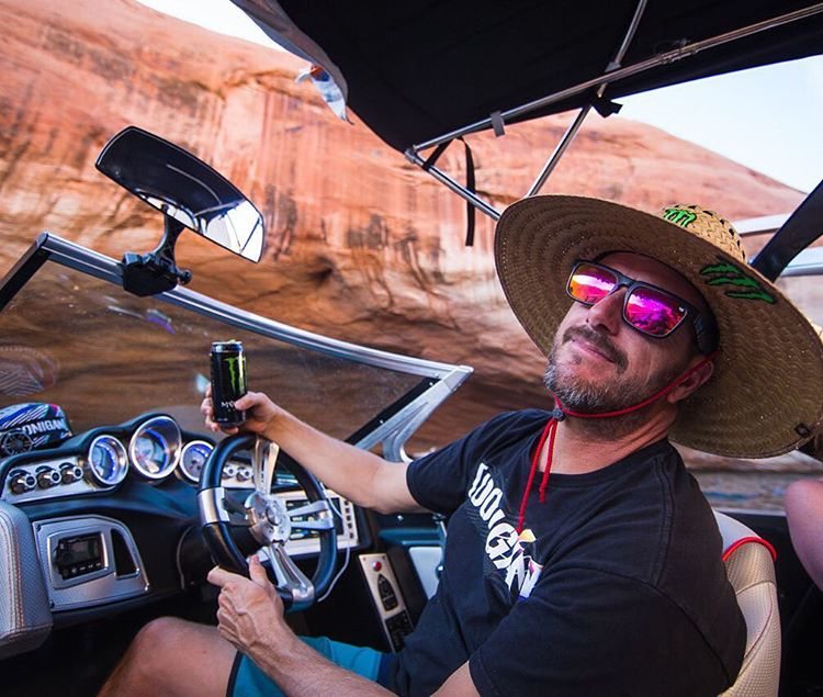 Lake adventuring means a lot of time in the sun - hence my personalized @MonsterEnergy sun hat. Full vacation spec. #lakeswag #LakePowell