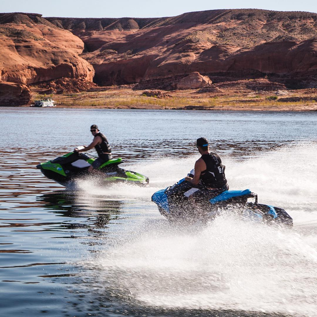 I can't seem to get @AndreasBakkerud off of these Sea-Doos! Ha. Had a great time with him this morning flying through some of the canyons near our lakeside camp spot here at Lake Powell. So much to explore - so little time. #SeaDoo #LakePowell...