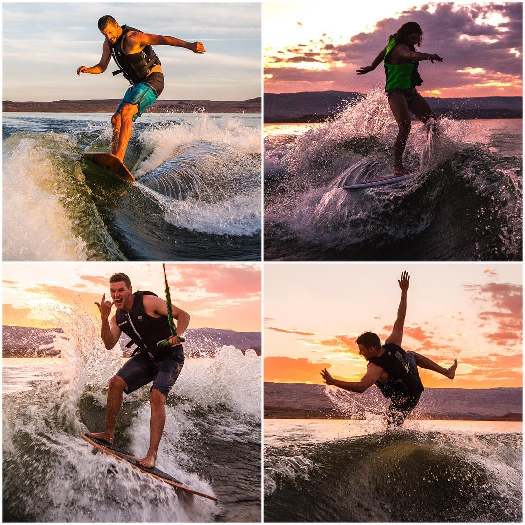 Team wakesurfing exercises last night at Lake Powell: yours truly, wifey, @AndreasBakkerud, and one of Andreas's slash attempts gone wrong. Ha. Such a majestic time doing this at sunset last night. And see, I do drop the rope sometimes! #teambuilding...