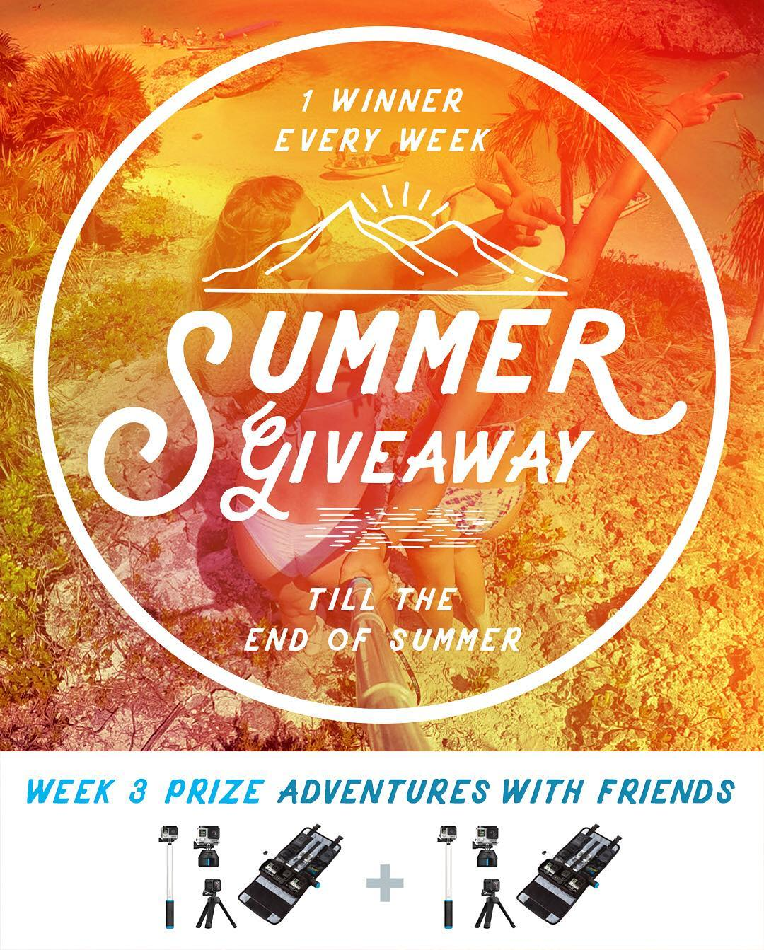 Congrats to week 2 winner, John Slatter from Australia! GoPole Summer Giveaway week 3 prize - Adventure with Friends. Week 3 winner will receive 2 prize packs, one for a friend! Enter daily to increase your chances. No purchase necessary, enter once or...
