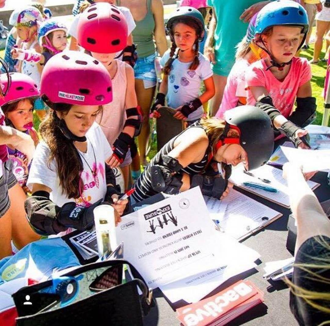 "These girls gathered this past weekend for the first @skaterising event at Encinitas Community Skate Plaza~ They discussed bullying, signed ""Commit to Kindness"" contracts, put together backpacks for back to school donations, and SKATED! Led by..."