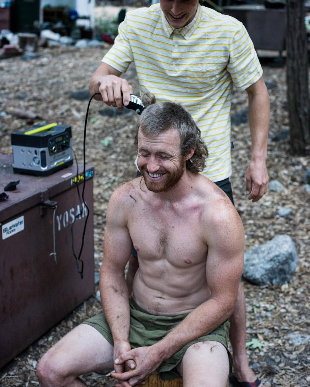 A Yosemite Search and Rescue team member getting a haircut in camp. YOSAR is one of the most well-oiled SAR divisions in the world. They handle everything from swift water to big wall rescues within the park averaging around 250 rescues or recoveries a...