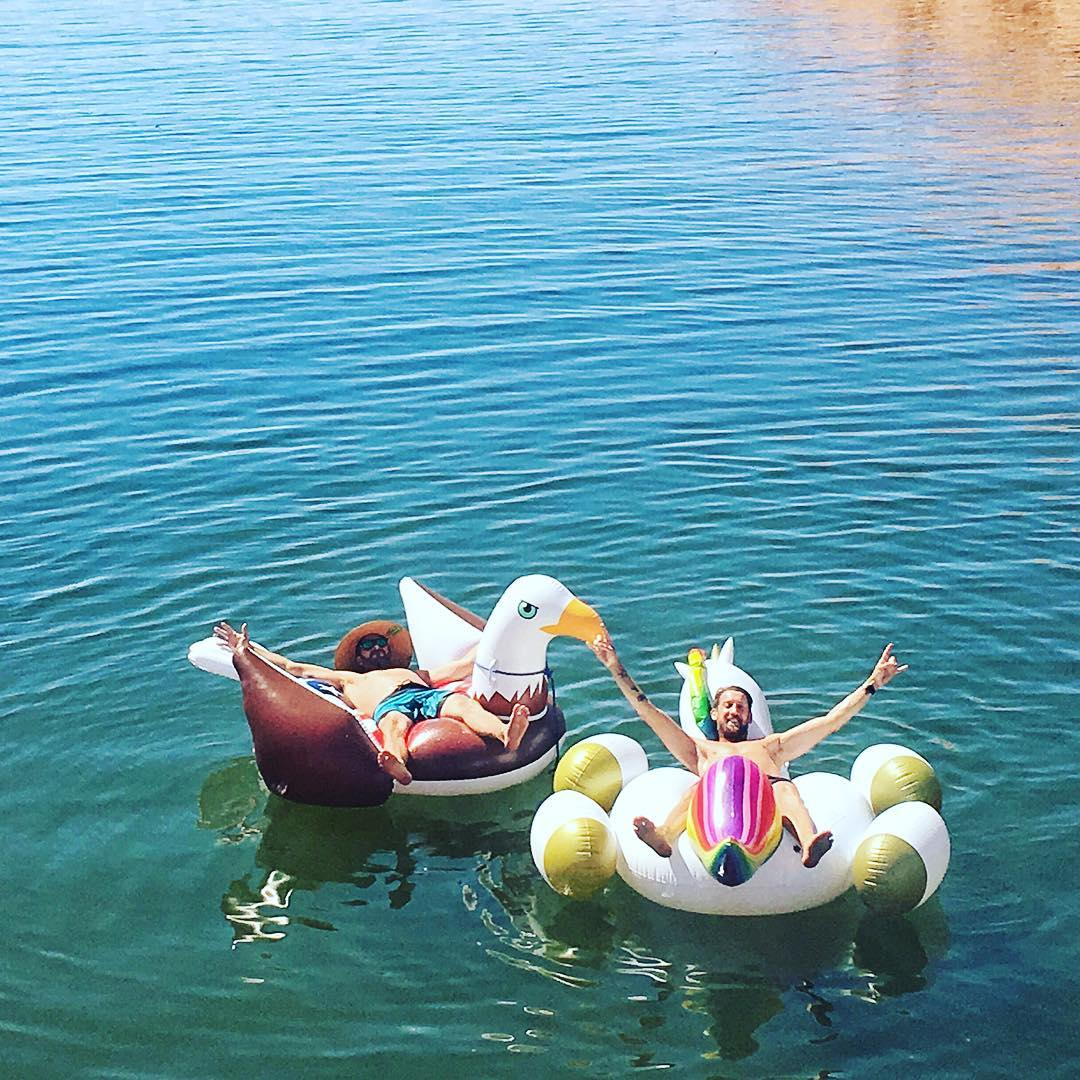 Candid shot of my super agent @wmgastephen and I talking business. Very, very important business - like what lake activity to do next. Ha. I'm lucky to have an agent that I have known for decades, and am such good friends with. #floatielife...