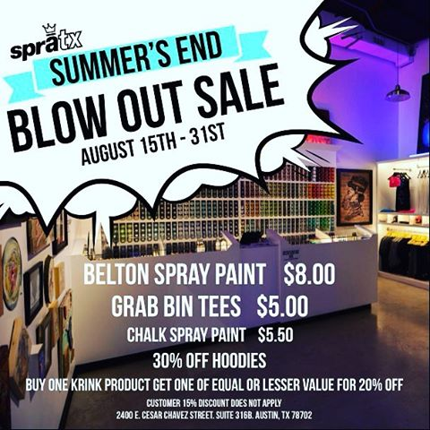 Beloved Austinites, we've got big sales going!! Come by our store and get your goods ON SALE! Belt on spray paint, select apparel, markers and more! • Store is located on Cesar Chavez and Pedernales behind Blue Owl Brewing. Open everyday but Wednesday...