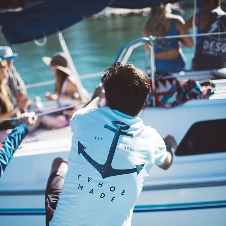 The Anchor tee in poolside. Made in California from super soft 100% organic cotton. Available exclusively online.  _ #thisistahoe #tahoemade
