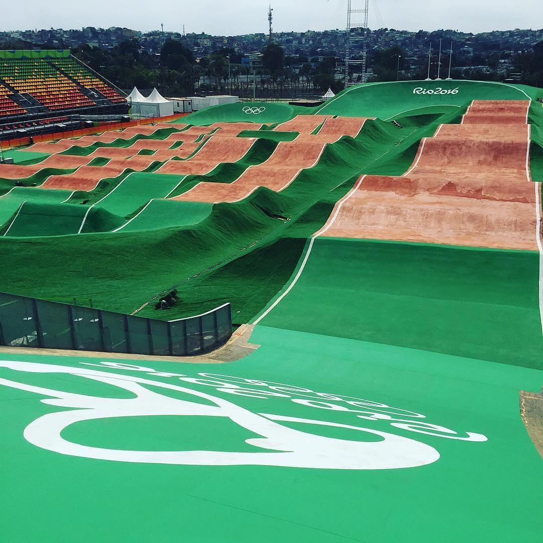 Here's a sneak peek of the bmx track at the #Rio2016 olympics, thanks to @actionsportsconstruction . We're keeping an eye out for @amidoumir at the @ucibmxsx seeding run tomorrow!