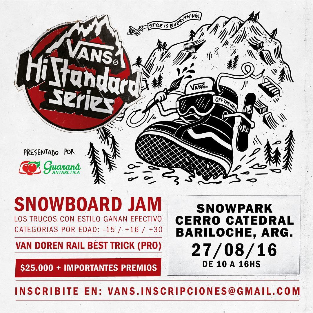 @guaranaargentina presenta el Vans #HiStandardSeries, un campeonato de snowboard en donde lo que importa es el estilo. Los que quieran participar tienen que mandar sus datos a vans.inscripciones@gmail.com. Hay dinero en efectivo y muchos premios. Ahí...