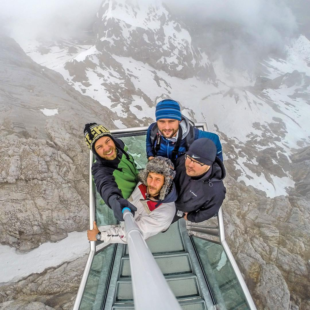 Group selfie on a skywalk in Austria! Photo by @dam.sa. Shot with GoPro HERO4 & GoPole Reach. #gopro #gopole #gopolereach #skywalk #austria