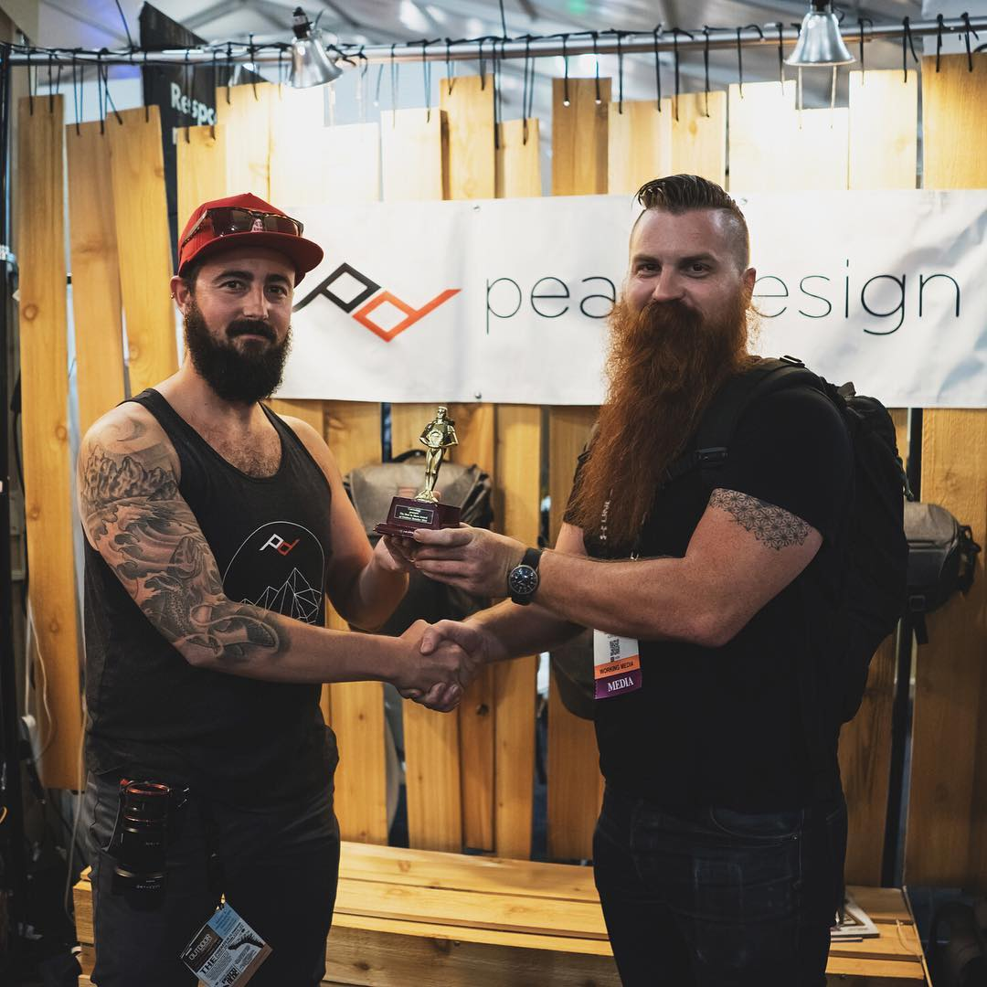 Gettin' weird with the beards: @carryology awarded us 'Best in Show' at Outdoor Retailer Summer 2016! Not pictured is @eastaustinsawdust asking for tips on beard health, beard growth stimulants, general beard tips, etc. #findyourpeak