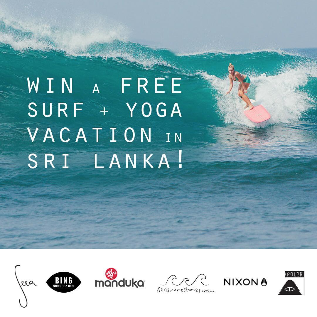 Don't forget about this epic chance to win a Surf & Yoga Vacation in Sri Lanka at @sunshinestories retreat! We teamed up with friends to give one lucky winner a dream trip and goodies take with you: a free @bingsurfboards board, @theseea suits,...
