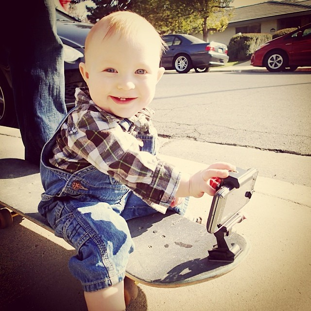 Look at cute little baby David! Learning to #skateboard before he can even walk