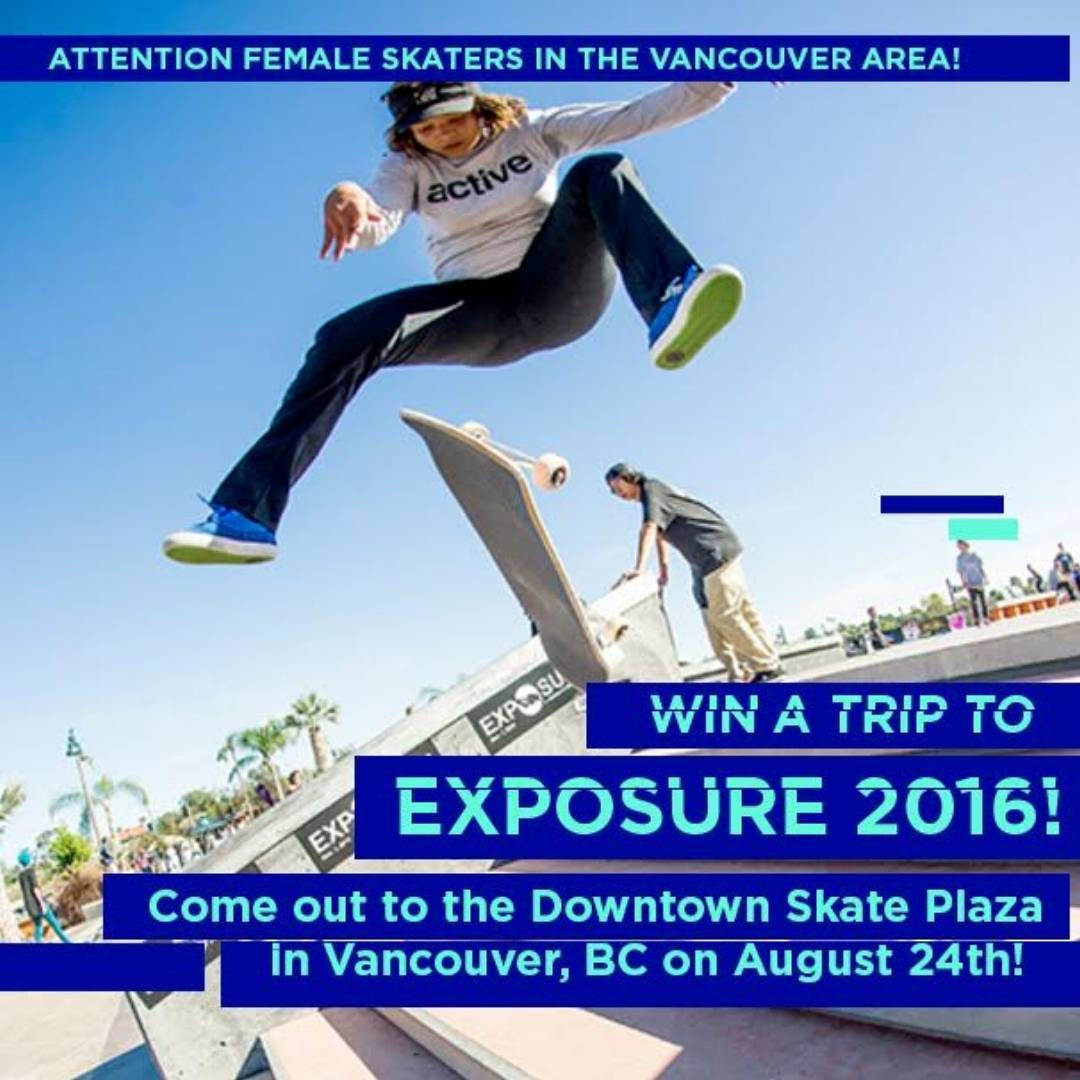Female skaters of Vancouver, BC~ in ONE week will be the @zumiezbestfootforward contest, and those compete have their scores entered to win a trip to EXPOSURE 2016! Photo by @jaimeowens