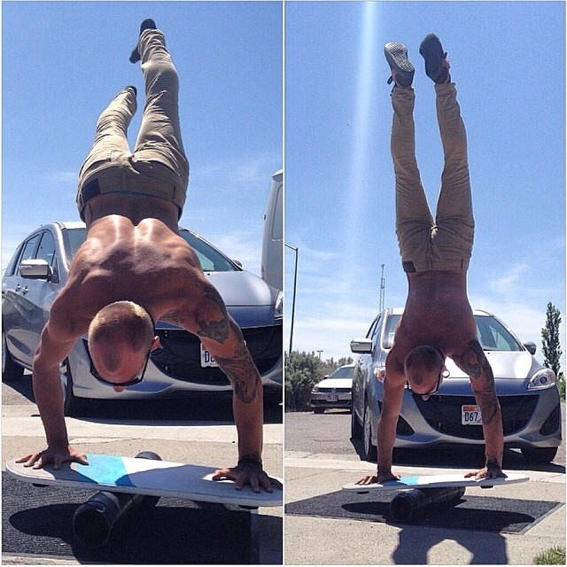 /// Check out this insane balance handstand by @j_ko_ on our Swell balance board @marcopoko @lukehively ///