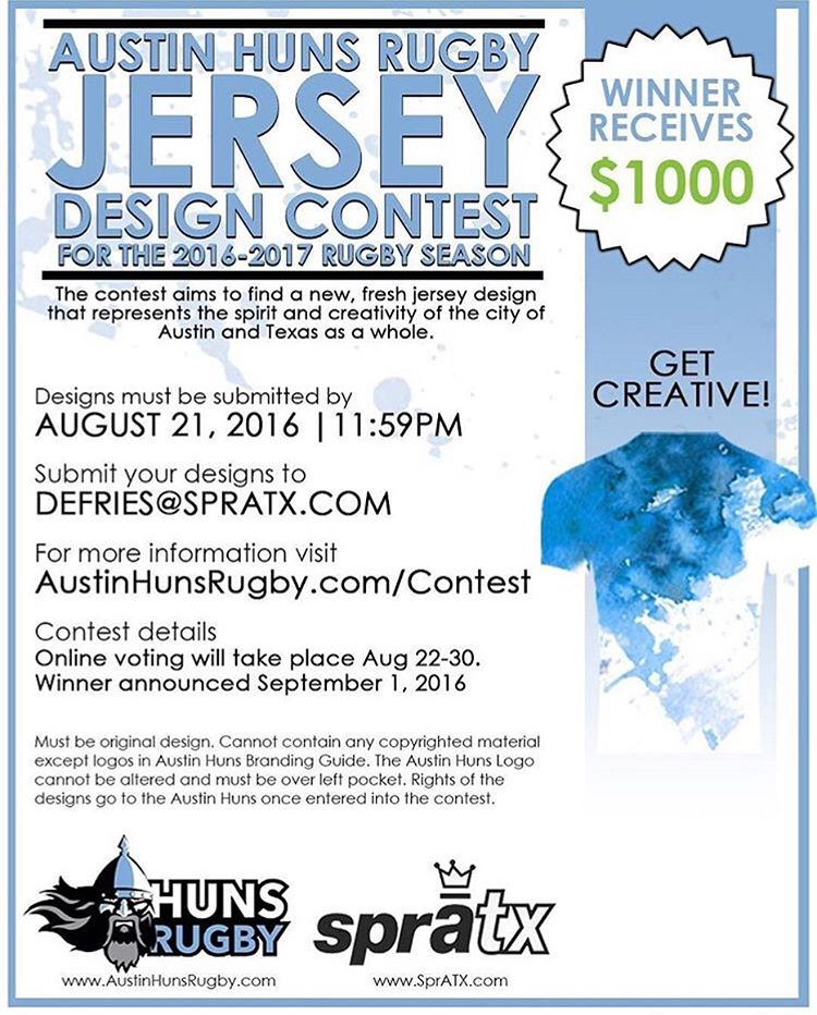 We are holding a design contest and anyone can enter!! The @austinhunsrugby team is looking for an artist to design their New Jersey! • Design submissions are due August 21st. Winner will receive $1,000 and the possibility to design other apparel items...