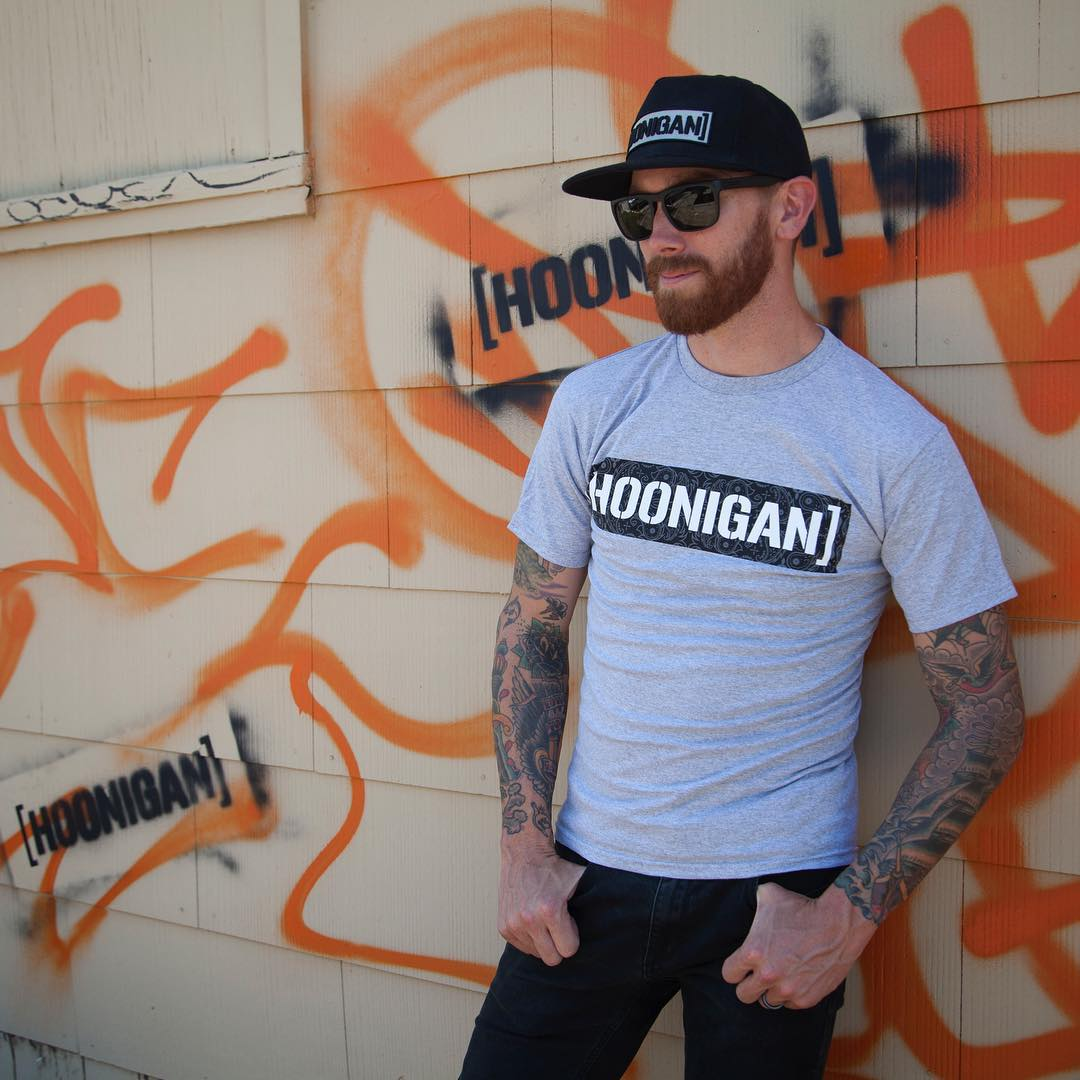 Down time on set with @chrisforsberg64 rocking the Censor Bar snapback and Bandana Fill tee [HOONIGAN.com]