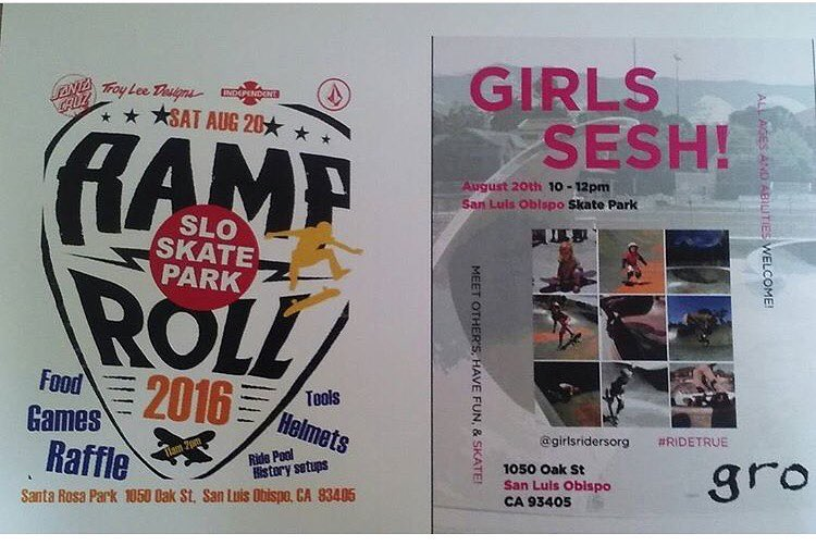 Join @sloskateparkallladiesskatejam this Saturday, August 20th, for an all ladies skate jam as well as an event for everyone! Along with the ladies session we will have a ramp and roll event from 11am-2pm with  booths, decks from history to ride, an...