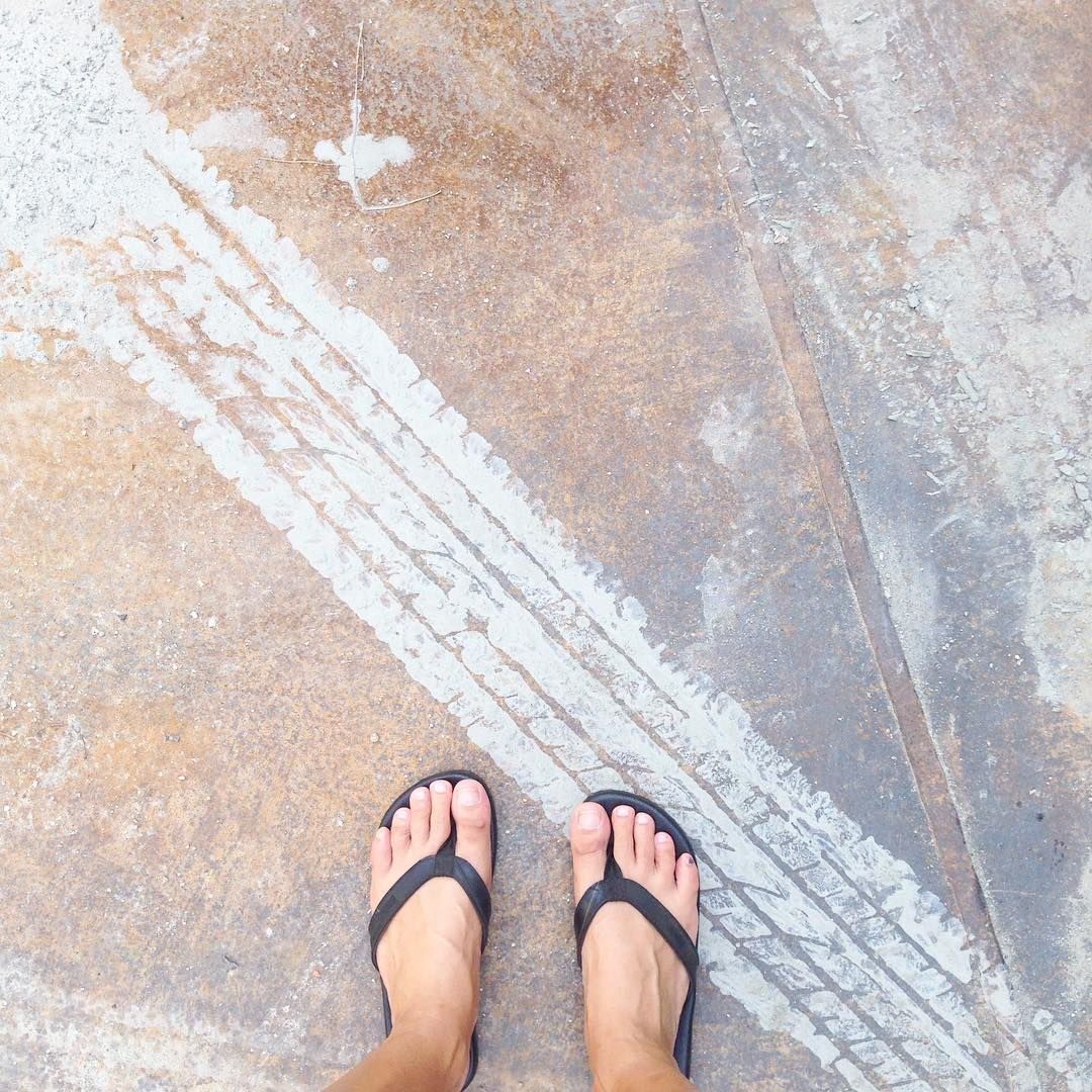 Seemed fitting so we snapped a little photo :) #TiresToSoles #indosole #SolesWithSoul #Double6sandal #LikeWalkingOnClouds ☁️